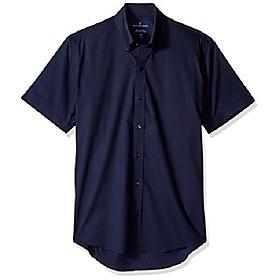 buttoned down men's slim fit stretch button-collar short-sleeve non-iron shirt, navy, 15.5 neck