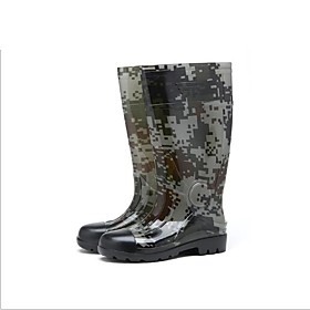 Men's Boots Daily PVC Non-slipping Wear Proof Black / Army Green / Khaki Camouflage Spring / Fall