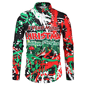 Men's Christmas Shirt Graphic Long Sleeve Tops Button Down Collar Green