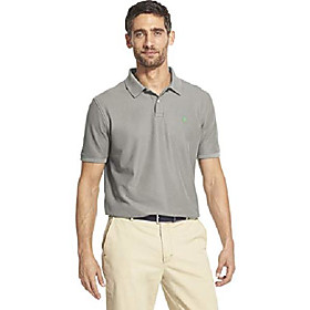 butamp; #39;s slim fit advantage performance short sleeve solid polo, light grey heather, small