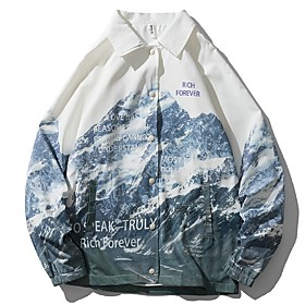 Men's Buttoned Front Jacket Regular Geometric Daily White M L XL