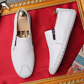 Men's Loafers  Slip-Ons Casual Daily Nappa Leather Breathable Handmade Non-slipping White / Black / Blue Fall