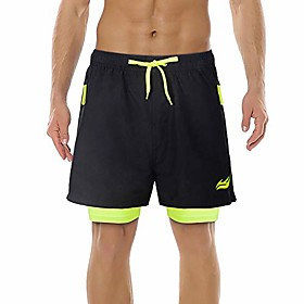 men's 2-in-1 drawstring sport shorts quick dry breathable running athletic shorts with 2 zipper pockets black