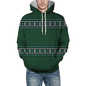 Men's Christmas Pullover Hoodie Sweatshirt Plaid Checkered 3D Graphic Christmas Hoodies Sweatshirts  Green