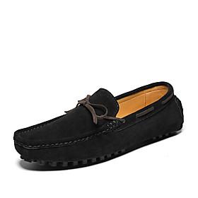 Men's Loafers  Slip-Ons Casual Daily Cowhide Black / Brown / Dark Blue Spring