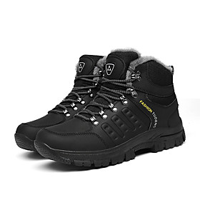 Men's Boots Casual Outdoor Walking Shoes PU Breathable Warm Non-slipping Black / Green / Gray Winter