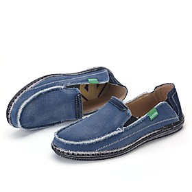 Men's Loafers  Slip-Ons Casual Daily Walking Shoes Canvas Breathable Wear Proof Black / Blue / Khaki Spring / Fall