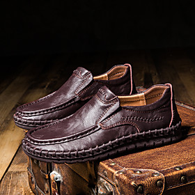 Men's Loafers  Slip-Ons Casual Daily Walking Shoes Nappa Leather Breathable Handmade Non-slipping Dark Brown / White / Black Fall