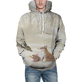 Men's Christmas Pullover Hoodie Sweatshirt 3D Graphic Reindeer Christmas Hoodies Sweatshirts  Khaki
