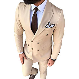 butamp; #39;s suit 2-piece double breasted groom tuxedos slim fit notch lapel tailcoat for wedding amp; # 40; xs, champagneamp; #41;