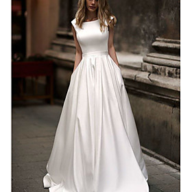 A-Line Wedding Dresses Jewel Neck Court Train Satin Cap Sleeve Country Vintage with Pleats 2020