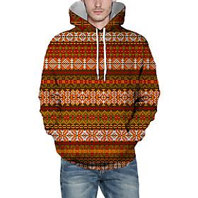 Men's Christmas Pullover Hoodie Sweatshirt Plaid Checkered 3D Graphic Christmas Hoodies Sweatshirts  Orange