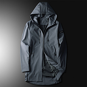 Men's Jacket Long Solid Colored Daily White Black Light Green M L XL