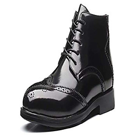 men's classic leather brogues oxfords ankle dress boots us size 5.5 black