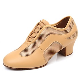 Women's Dance Shoes Latin Shoes / Practice Trainning Dance Shoes Heel Thick Heel Black / Brown / Performance / Leather