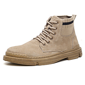 Men's Boots Classic / Vintage / British Outdoor Office  Career Knit / Microfiber Non-slipping Wear Proof Black / Khaki / Gray Fall / Winter