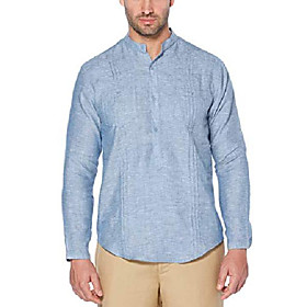 men's long sleeve 100% linen tunic-style shirt with pockets and pleats, delft, xx-large