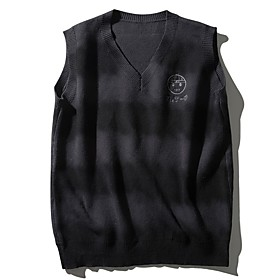 Men's Color Block Vest Sleeveless Sweater Cardigans V Neck Fall Winter Black Blue