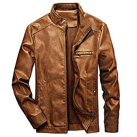 butamp; #39;s stand collar leather jacket motorcycle lightweight faux leather outwear amp; #40;brown, xx-largeamp; #41;
