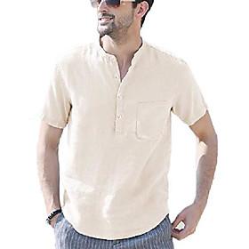 butamp; #39;s cotton linen henley shirt short sleeve hippie casual beach t shirts with pocket beige