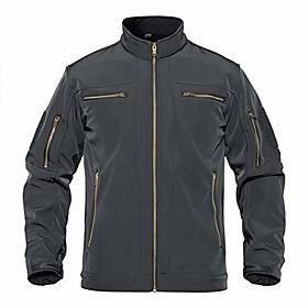 men's lightweight military tactical softshell outdoor jacket coat grey, l