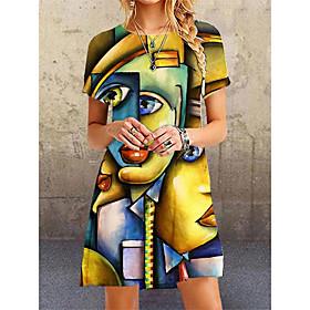 Women's A-Line Dress Knee Length Dress - 3/4 Length Sleeve Color Gradient Summer Fall Elegant Butterfly Sleeve 2020 M L XL XXL 3XL