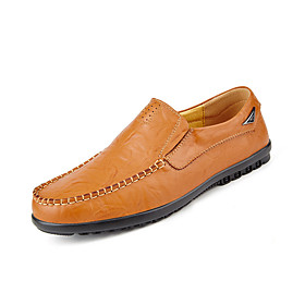 Men's Loafers  Slip-Ons Casual Daily Leather Wear Proof Light Brown / Black / Brown Spring / Fall