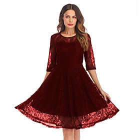 Women's A-Line Dress Knee Length Dress - 3/4 Length Sleeve Solid Color Lace Summer Sexy Party Slim 2020 Black Wine Navy Blue S M L XL XXL