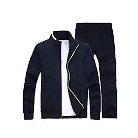 men's casual tracksuit long sleeve full zip running jogging athletic sports set blue m