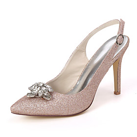Women's Wedding Shoes Stiletto Heel Pointed Toe Sexy Wedding Party  Evening Rhinestone Solid Colored Gleit White / Light Purple / Champagne