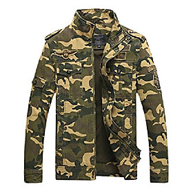 men's casual slim stand collar tooling camouflage cotton jackets (x-small, khaki)