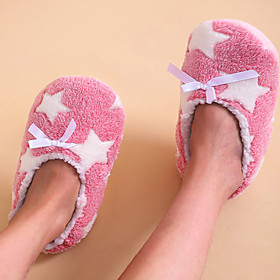 Women's Slippers  Flip-Flops Flat Heel Round Toe Casual Home Geometric Faux Fur Light Pink