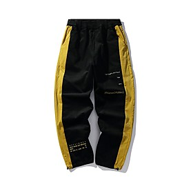 Men's Basic Casual Sweatpants Pants Multi Color Outdoor Black Yellow M L XL