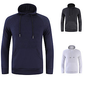 Men's Hoodie Jacket Mesh Stand Collar Spandex Solid Color Sport Athleisure Hoodie Long Sleeve Breathable Quick Dry Sweat Out Comfortable Exercise  Fitness Runn