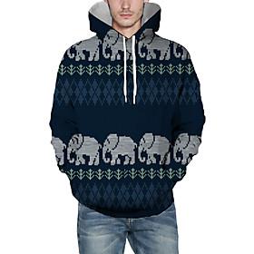 Men's Christmas Pullover Hoodie Sweatshirt 3D Animal Patterned Graphic Christmas Hoodies Sweatshirts  Navy Blue