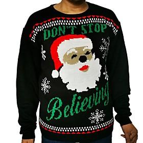 Men's Christmas Animal Pullover Acrylic Fibers Long Sleeve Sweater Cardigans Crew Neck Winter Black