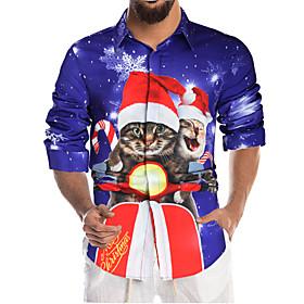 Men's Christmas Shirt Graphic Long Sleeve Tops Blue