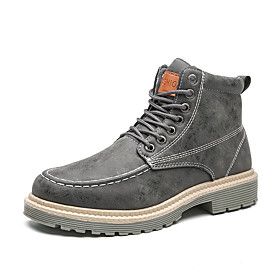 Men's Boots Classic / Vintage / British Outdoor Office  Career Microfiber Non-slipping Wear Proof Booties / Ankle Boots Black / Khaki / Gray Fall / Winter