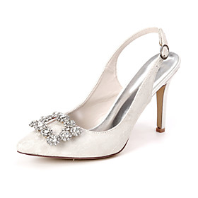Women's Wedding Shoes Stiletto Heel Pointed Toe Chinoiserie Wedding Party  Evening Rhinestone Satin Flower Floral Lace White / Light Purple / Ivory