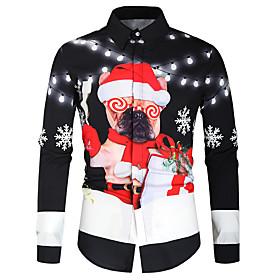 Men's Christmas Shirt Graphic Long Sleeve Tops Button Down Collar Black