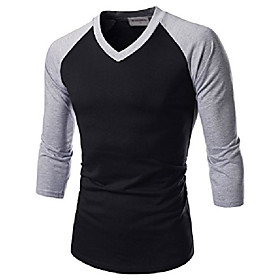 (nknkr7t622 unisex 3/4 sleeve round neck fitted raglan t-shirts whitegray us xl(tag size 2xl)