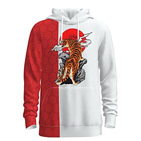 Men's Weekend Pullover Hoodie Sweatshirt Graphic Animal Chinese Style Hooded Casual Streetwear Hoodies Sweatshirts  Long Sleeve White Red