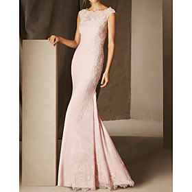 Mermaid / Trumpet Elegant Floral Engagement Formal Evening Dress Scalloped Neckline Sleeveless Floor Length Lace Satin with Lace Insert 2020