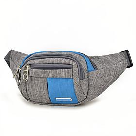 Men's Bags Nylon Fanny Pack Zipper for Outdoor Black / Blue / Purple / Red