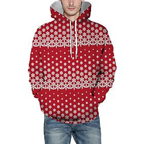 Men's Christmas Pullover Hoodie Sweatshirt Print 3D Graphic Christmas Hoodies Sweatshirts  Red