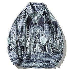 Men's Buttoned Front Jacket Regular Geometric Daily Gray M L XL