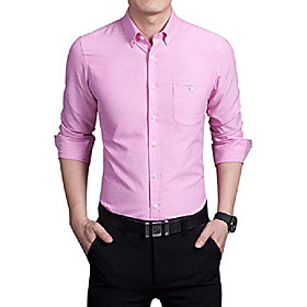 men's basic collared long sleeve dress shirt one-pocket (medium, pink)