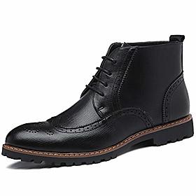 men's lace-up boot winter dress boots cap toe oxfords dress ankle boots black size 6.5