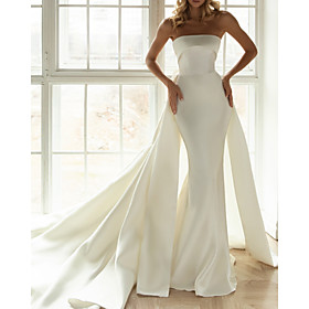 Sheath / Column Wedding Dresses Strapless Chapel Train Satin Sleeveless Simple with Bow(s) 2020