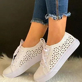 Women's Sneakers Flat Heel Round Toe Casual Basic Daily Color Block Canvas PU Walking Shoes Almond / White / Pink